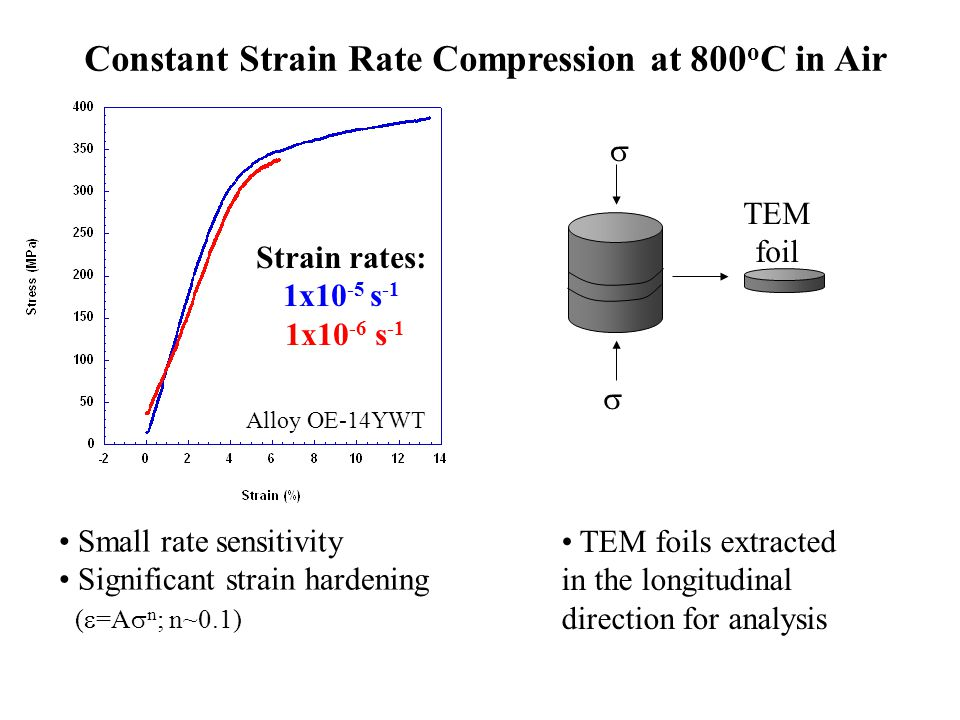 Constant Strain Rate Compression at 800 o C in Air Strain rates: 1x10 -5 s -1 1x10 -6 s -1 Small rate sensitivity Significant strain hardening (  =A  n ; n~0.1) Alloy OE-14YWT TEM foils extracted in the longitudinal direction for analysis   TEM foil