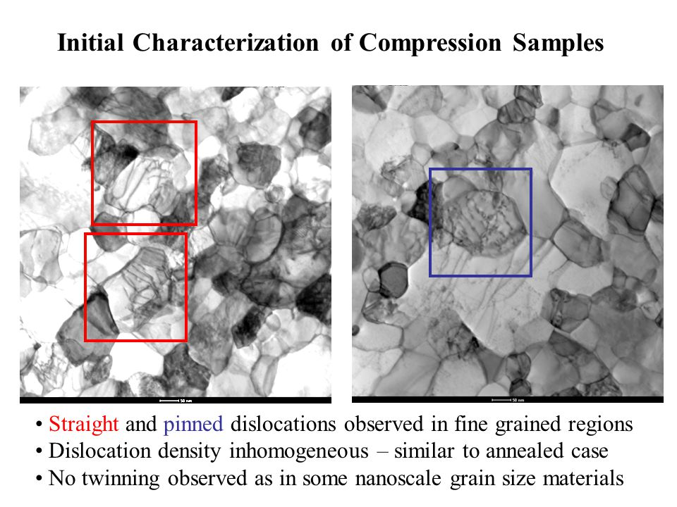 Straight and pinned dislocations observed in fine grained regions Dislocation density inhomogeneous – similar to annealed case No twinning observed as in some nanoscale grain size materials Initial Characterization of Compression Samples