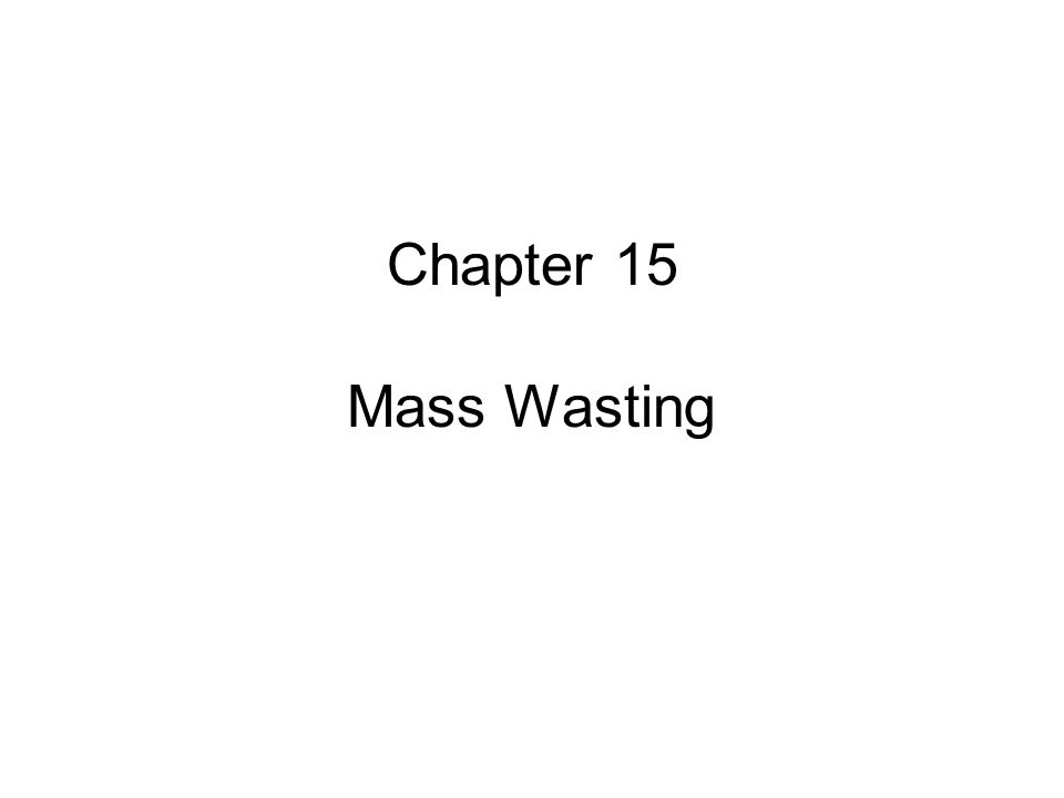 Chapter 15 Mass Wasting