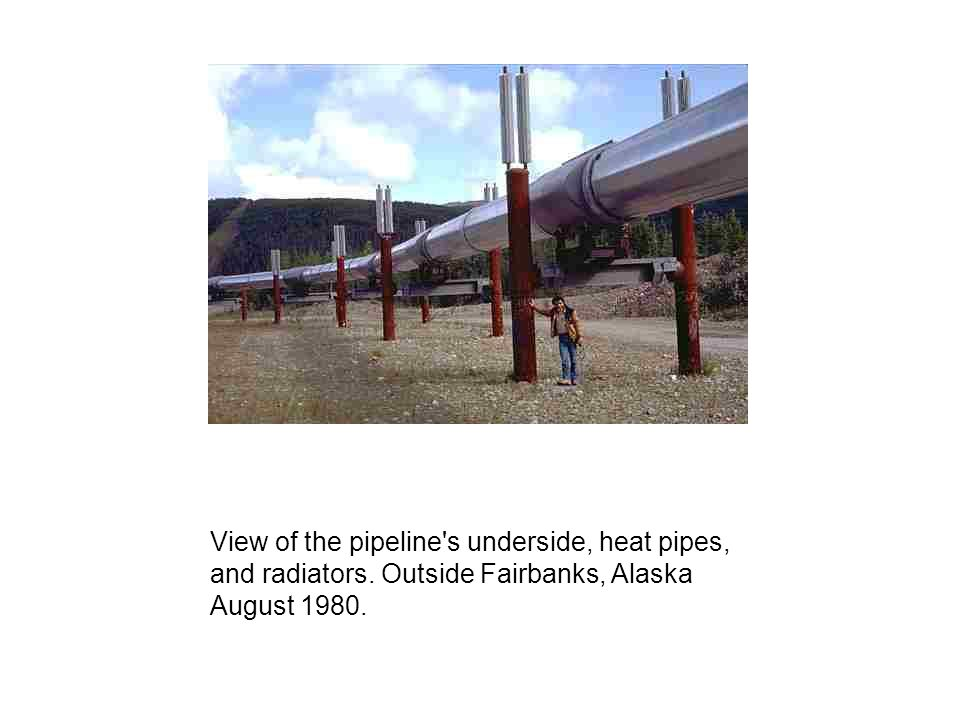 View of the pipeline's underside, heat pipes, and radiators. Outside Fairbanks, Alaska August 1980.