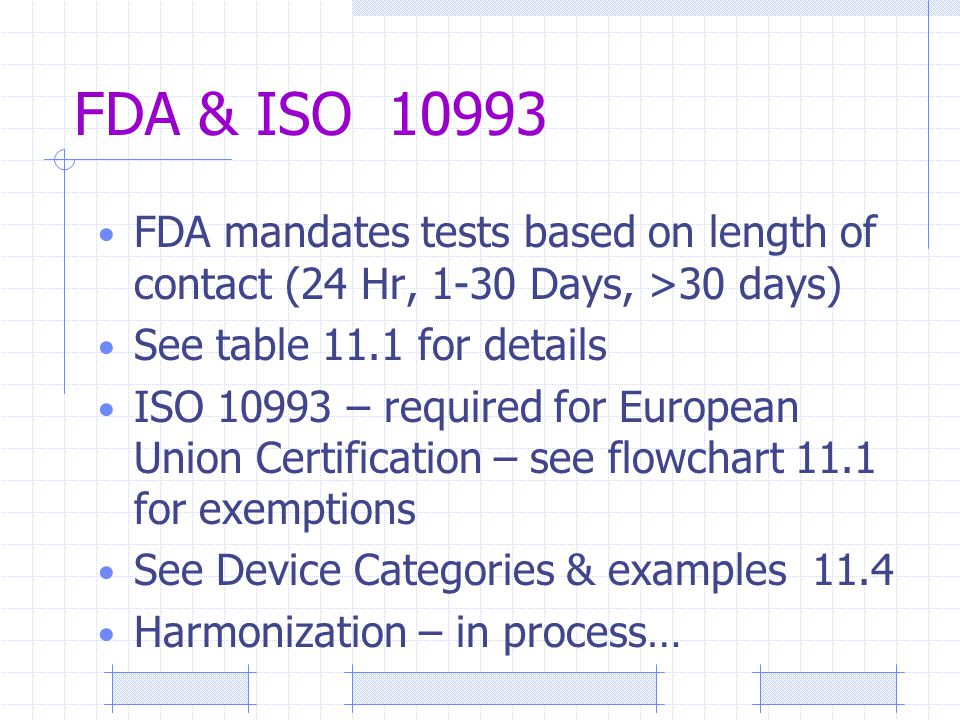 FDA & ISO 10993 FDA mandates tests based on length of contact (24 Hr, 1-30 Days, >30 days) See table 11.1 for details ISO 10993 – required for European Union Certification – see flowchart 11.1 for exemptions See Device Categories & examples 11.4 Harmonization – in process…