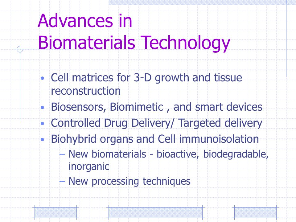 Advances in Biomaterials Technology Cell matrices for 3-D growth and tissue reconstruction Biosensors, Biomimetic, and smart devices Controlled Drug Delivery/ Targeted delivery Biohybrid organs and Cell immunoisolation –New biomaterials - bioactive, biodegradable, inorganic –New processing techniques