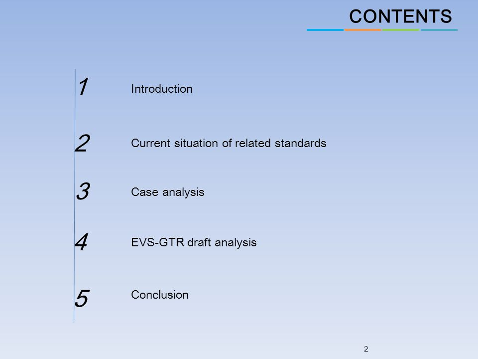 CONTENTS 2 Introduction Current situation of related standards Case analysis 1 2 3 EVS-GTR draft analysis 4 Conclusion 5