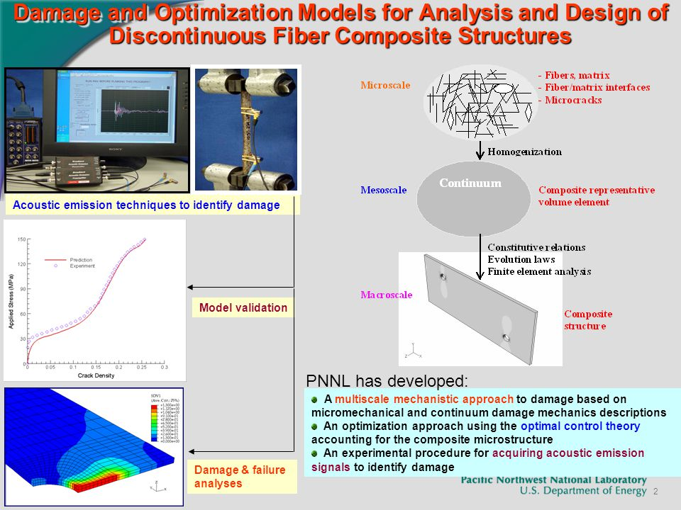 2 Damage and Optimization Models for Analysis and Design of Discontinuous Fiber Composite Structures Acoustic emission techniques to identify damage Model validation Damage & failure analyses A multiscale mechanistic approach to damage based on micromechanical and continuum damage mechanics descriptions An optimization approach using the optimal control theory accounting for the composite microstructure An experimental procedure for acquiring acoustic emission signals to identify damage PNNL has developed:
