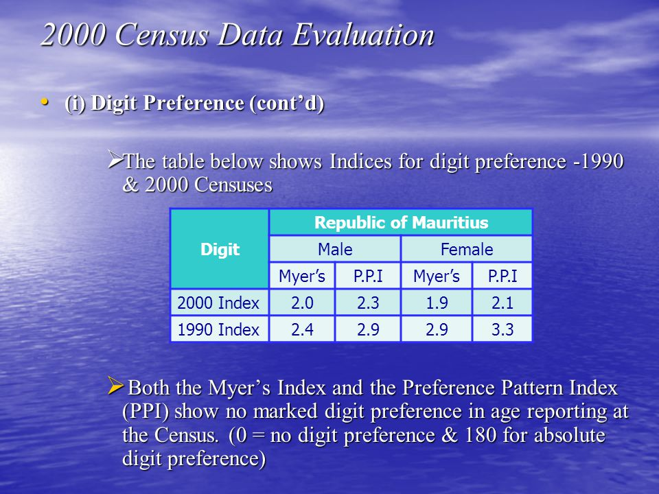 (i) Digit Preference (cont'd) (i) Digit Preference (cont'd)  The table below shows Indices for digit preference -1990 & 2000 Censuses  Both the Myer's Index and the Preference Pattern Index (PPI) show no marked digit preference in age reporting at the Census.