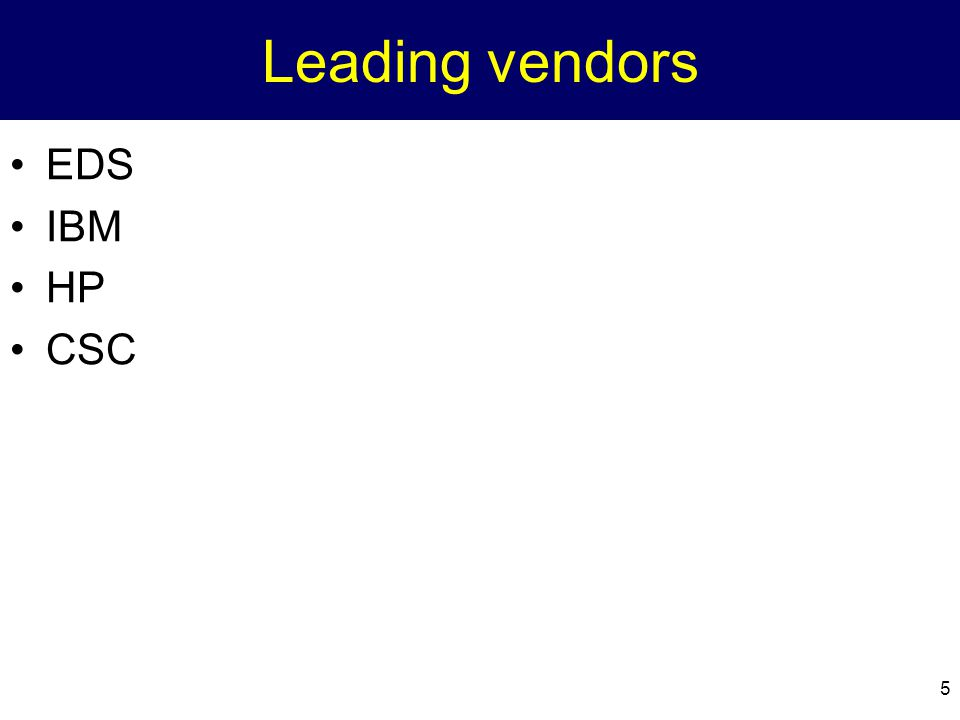 5 Leading vendors EDS IBM HP CSC