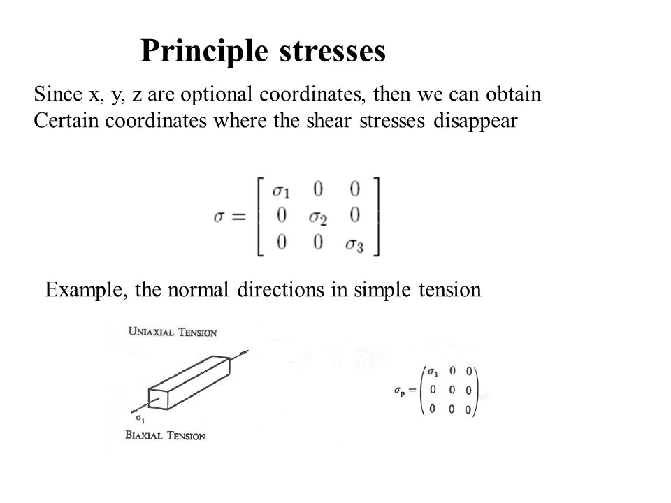 Principle stresses Since x, y, z are optional coordinates, then we can obtain Certain coordinates where the shear stresses disappear Example, the norm