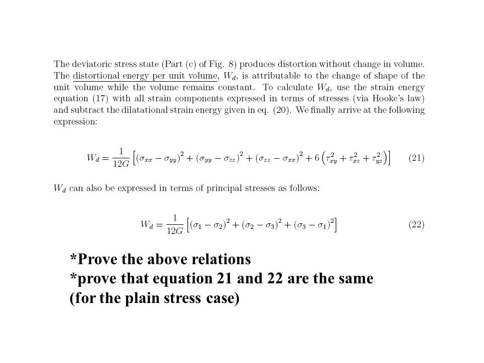 *Prove the above relations *prove that equation 21 and 22 are the same (for the plain stress case)