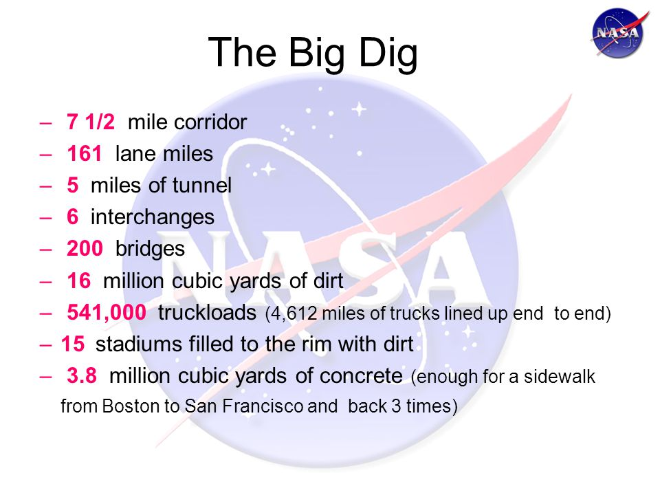 The Big Dig – 7 1/2 mile corridor – 161 lane miles – 5 miles of tunnel – 6 interchanges – 200 bridges – 16 million cubic yards of dirt – 541,000 truckloads (4,612 miles of trucks lined up end to end) –15 stadiums filled to the rim with dirt – 3.8 million cubic yards of concrete (enough for a sidewalk from Boston to San Francisco and back 3 times)