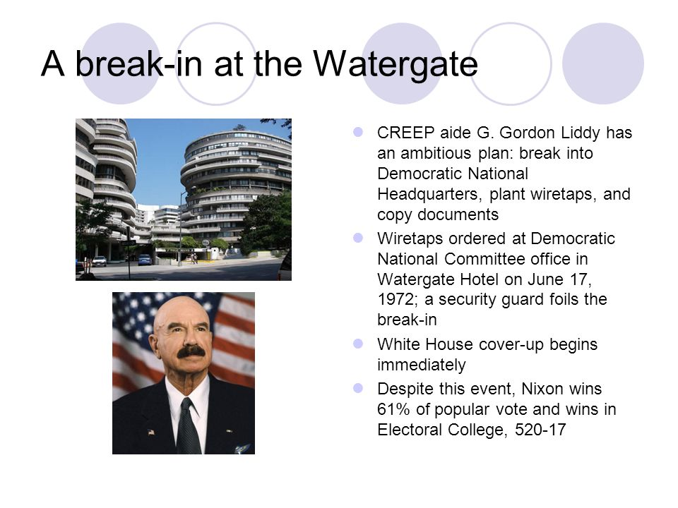 A break-in at the Watergate CREEP aide G.