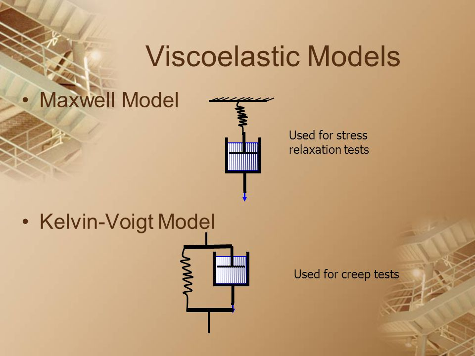Viscoelastic Models Maxwell Model Kelvin-Voigt Model Used for stress relaxation tests Used for creep tests