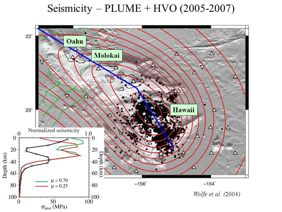 Seismicity – PLUME + HVO (2005-2007) Wolfe et al. (2004) Molokai Oahu Hawaii