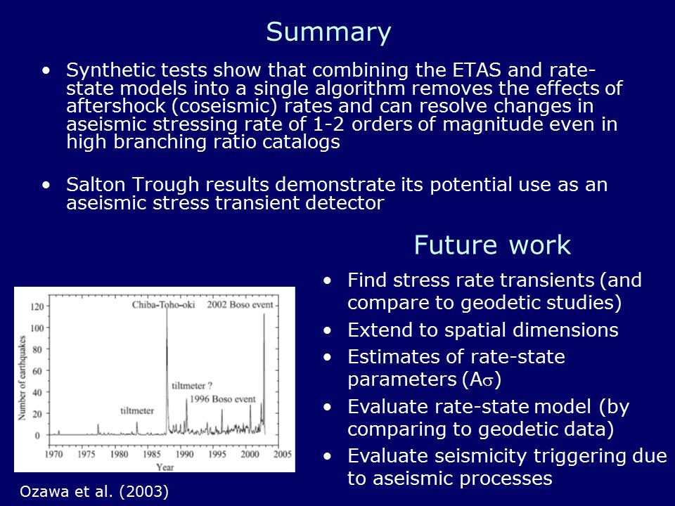Future work Synthetic tests show that combining the ETAS and rate- state models into a single algorithm removes the effects of aftershock (coseismic) rates and can resolve changes in aseismic stressing rate of 1-2 orders of magnitude even in high branching ratio catalogs Salton Trough results demonstrate its potential use as an aseismic stress transient detector Ozawa et al.