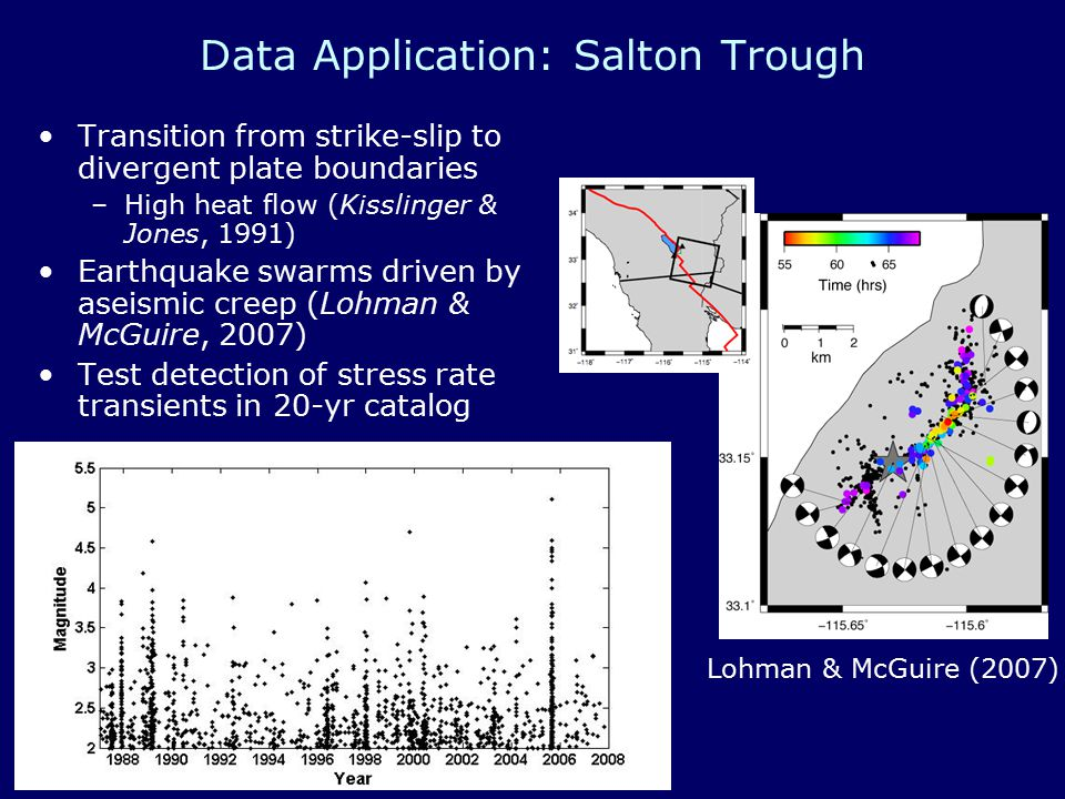 Data Application: Salton Trough Transition from strike-slip to divergent plate boundaries –High heat flow (Kisslinger & Jones, 1991) Earthquake swarms driven by aseismic creep (Lohman & McGuire, 2007) Test detection of stress rate transients in 20-yr catalog Lohman & McGuire (2007)