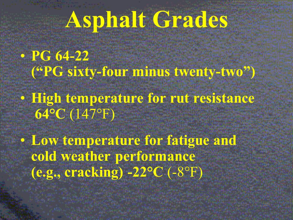 Asphalt Grades PG 64-22 ( PG sixty-four minus twenty-two ) High temperature for rut resistance 64°C (147°F) Low temperature for fatigue and cold weather performance (e.g., cracking) -22°C (-8°F)