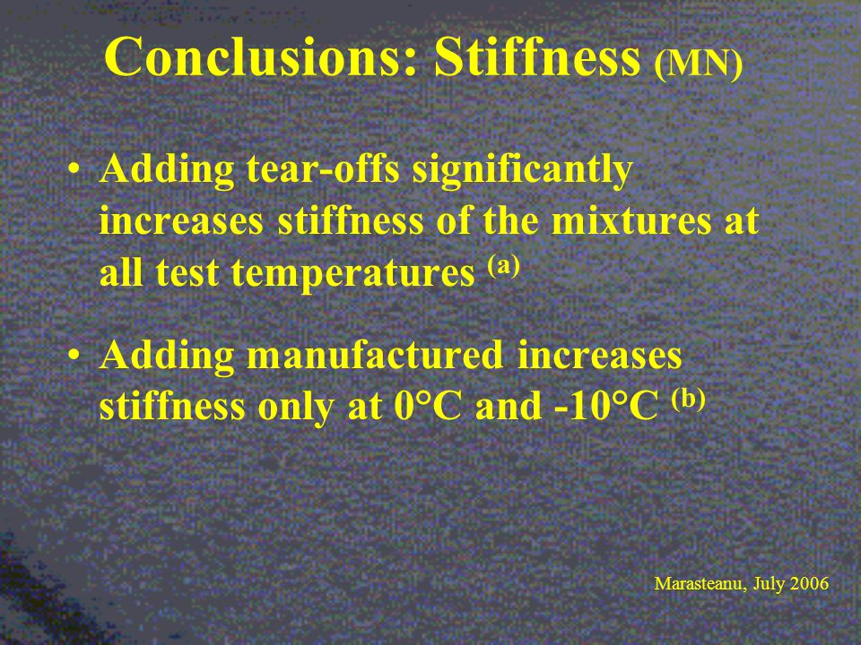 Conclusions: Stiffness (MN) Adding tear-offs significantly increases stiffness of the mixtures at all test temperatures (a) Adding manufactured increases stiffness only at 0°C and -10°C (b) Marasteanu, July 2006