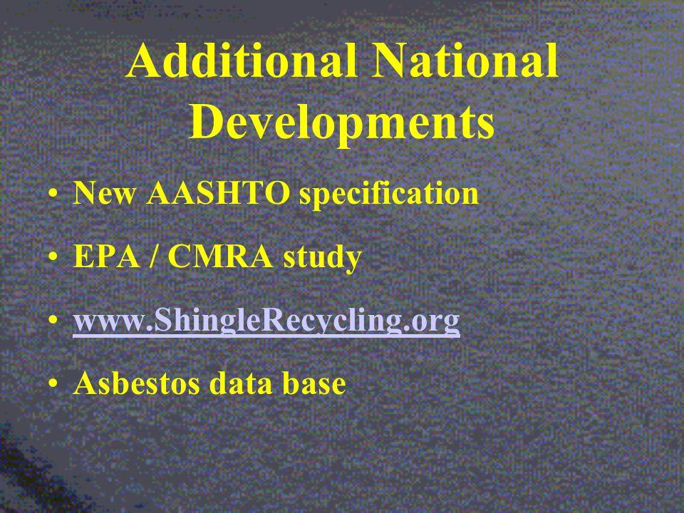 Additional National Developments New AASHTO specification EPA / CMRA study www.ShingleRecycling.org Asbestos data base