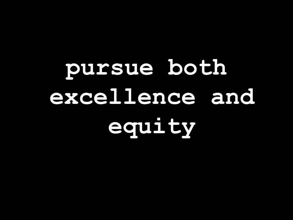 pursue both excellence and equity