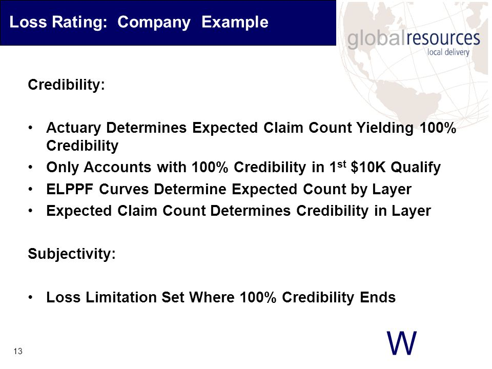W 13 Loss Rating: Company Example Credibility: Actuary Determines Expected Claim Count Yielding 100% Credibility Only Accounts with 100% Credibility in 1 st $10K Qualify ELPPF Curves Determine Expected Count by Layer Expected Claim Count Determines Credibility in Layer Subjectivity: Loss Limitation Set Where 100% Credibility Ends