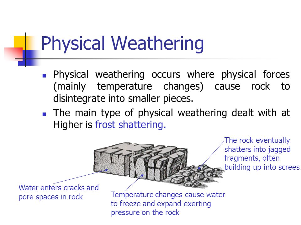 Physical Weathering Physical weathering occurs where physical forces (mainly temperature changes) cause rock to disintegrate into smaller pieces.