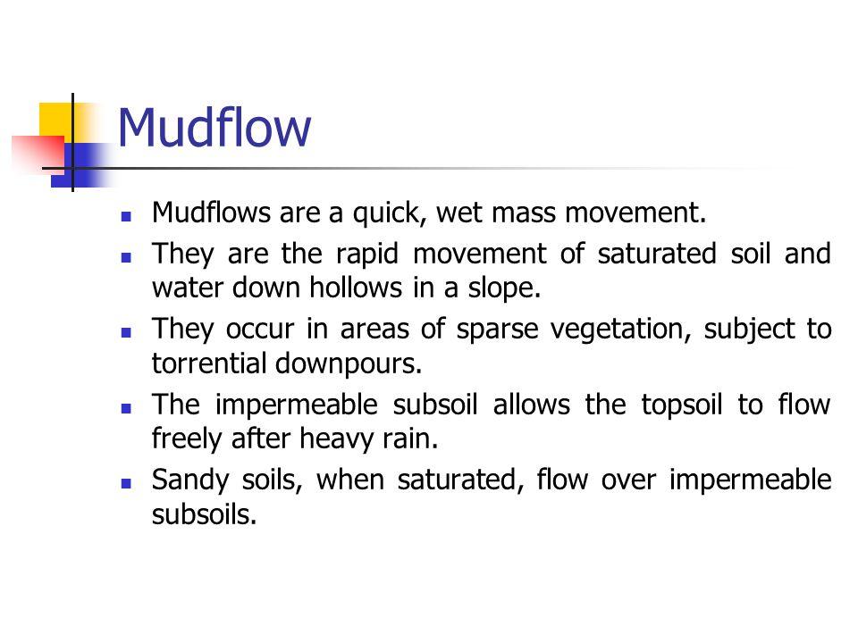 Mudflow Mudflows are a quick, wet mass movement.