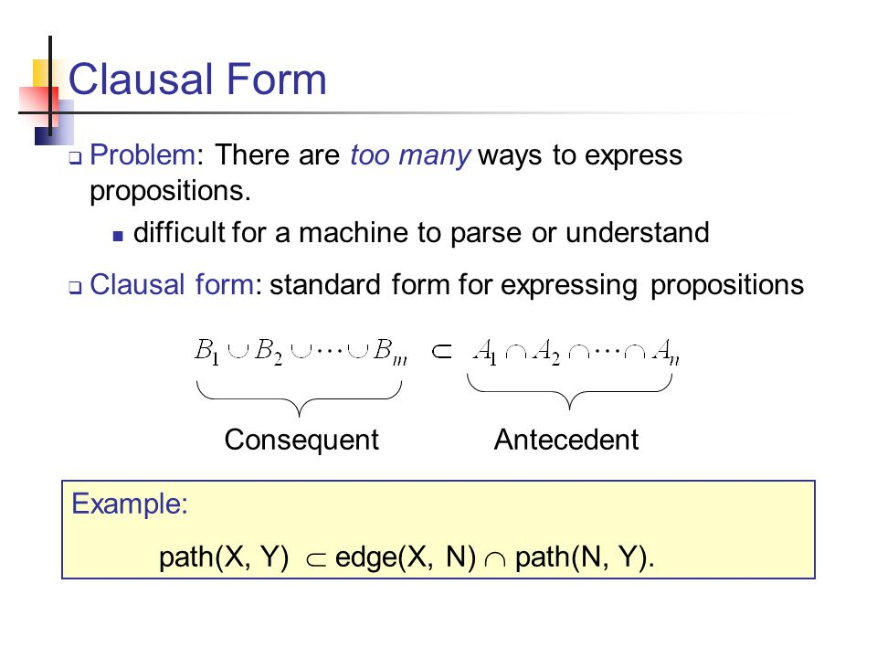 Clausal Form Example Meaning: if there is an edge from X to N and there a path from N to Y, then there is a path from X to Y.