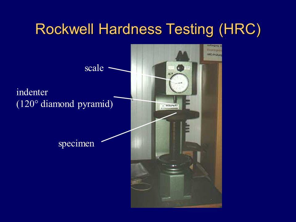 Rockwell Hardness Testing (HRC) scale indenter (120° diamond pyramid) specimen