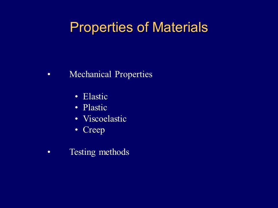 Properties of Materials Mechanical Properties Elastic Plastic Viscoelastic Creep Testing methods