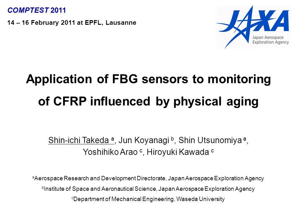 Application of FBG sensors to monitoring of CFRP influenced by physical aging Shin-ichi Takeda a, Jun Koyanagi b, Shin Utsunomiya a, Yoshihiko Arao c,