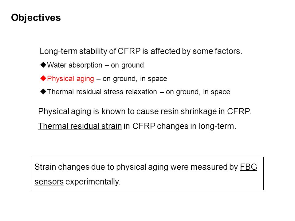 Long-term stability of CFRP is affected by some factors.  Water absorption – on ground  Physical aging – on ground, in space  Thermal residual stre