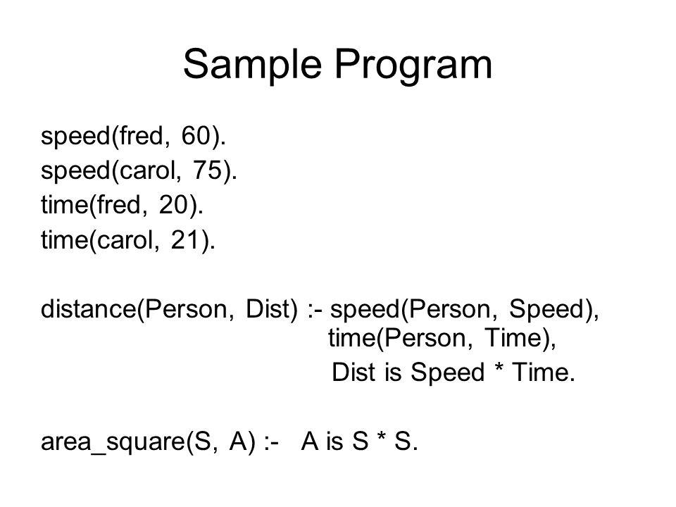 Sample Program speed(fred, 60). speed(carol, 75).