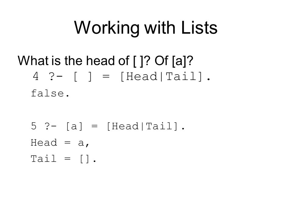 Working with Lists What is the head of [ ]. Of [a].