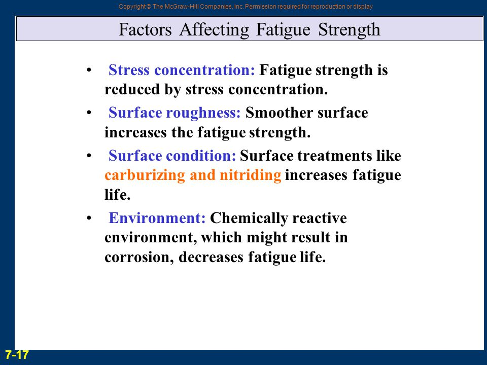 Copyright © The McGraw-Hill Companies, Inc. Permission required for reproduction or display Factors Affecting Fatigue Strength Stress concentration: F