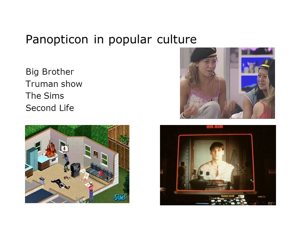 Panopticon in popular culture Big Brother Truman show The Sims Second Life
