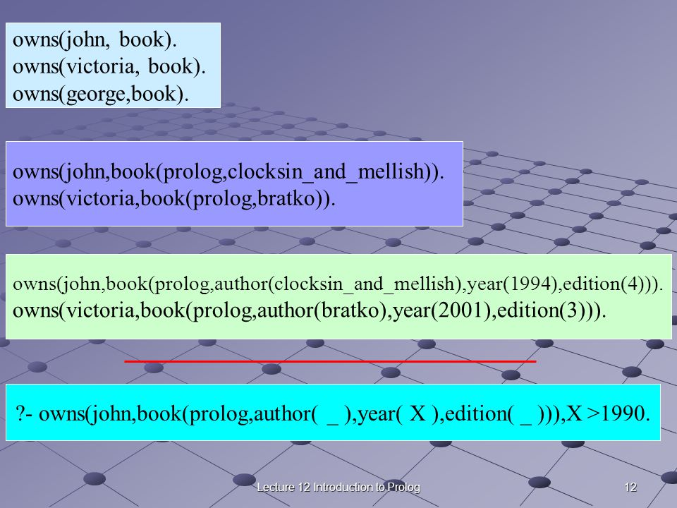 12Lecture 12 Introduction to Prolog ?- owns(john,book(prolog,author( _ ),year( X ),edition( _ ))),X >1990. owns(john,book(prolog,author(clocksin_and_m