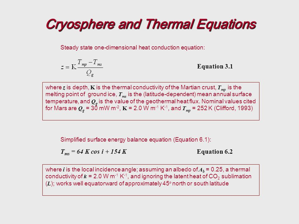 Cryosphere and Thermal Equations Equation 3.1 T ms = 64 K cos i + 154 KEquation 6.2 where z is depth, K is the thermal conductivity of the Martian crust, T mp is the melting point of ground ice, T ms is the (latitude-dependent) mean annual surface temperature, and Q g is the value of the geothermal heat flux.