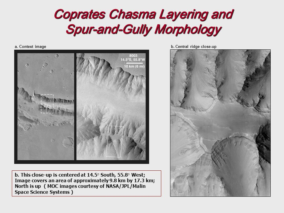Coprates Chasma Layering and Spur-and-Gully Morphology b.