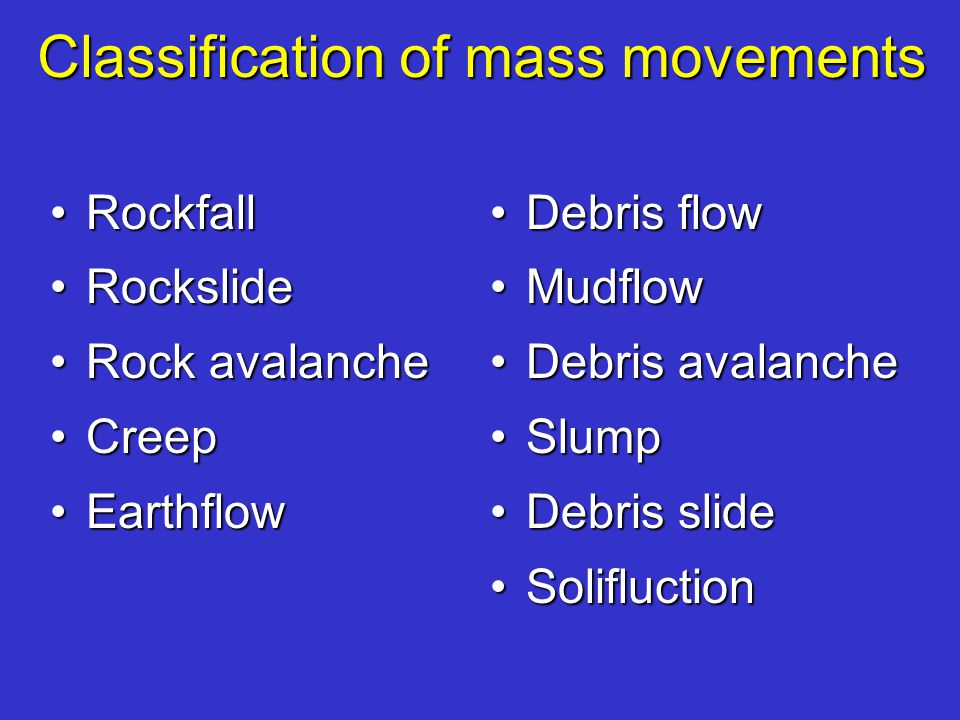 Classification of mass movements RockfallRockfall RockslideRockslide Rock avalancheRock avalanche CreepCreep EarthflowEarthflow Debris flowDebris flow MudflowMudflow Debris avalancheDebris avalanche SlumpSlump Debris slideDebris slide SolifluctionSolifluction