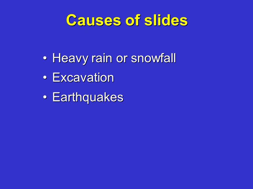 Causes of slides Heavy rain or snowfallHeavy rain or snowfall ExcavationExcavation EarthquakesEarthquakes