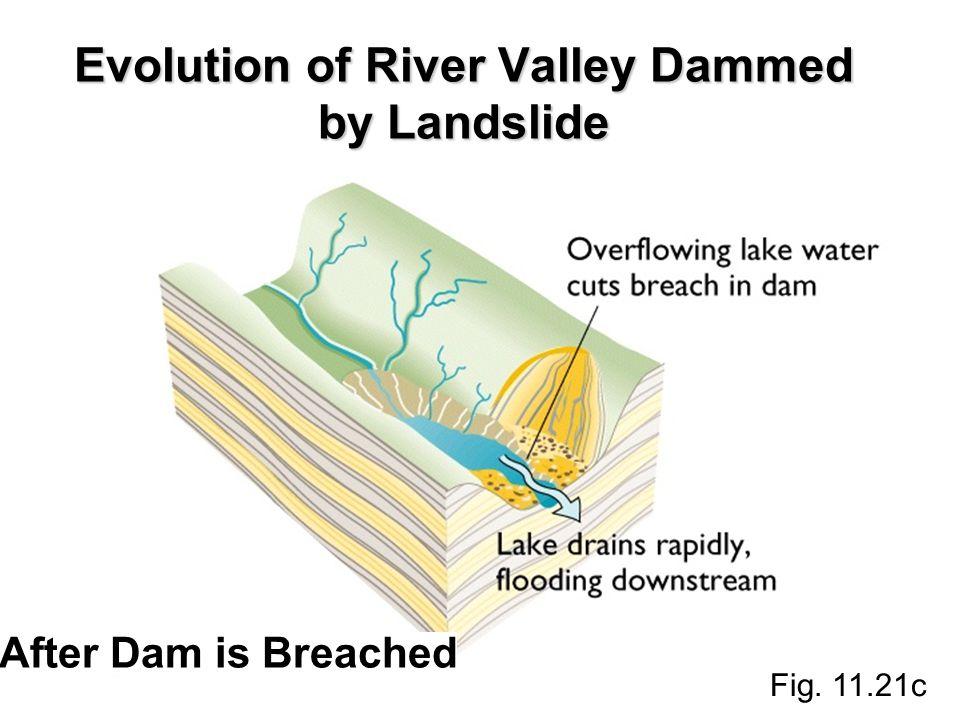 Evolution of River Valley Dammed by Landslide Fig. 11.21c After Dam is Breached