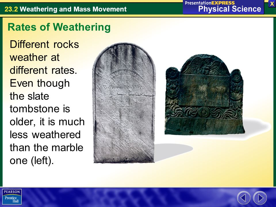 23.2 Weathering and Mass Movement Different rocks weather at different rates. Even though the slate tombstone is older, it is much less weathered than
