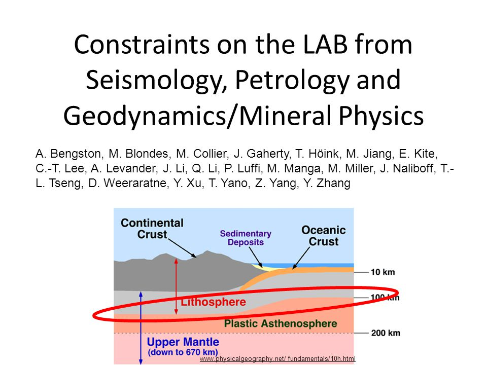 Constraints on the LAB from Seismology, Petrology and Geodynamics/Mineral Physics www.physicalgeography.net/ fundamentals/10h.html A.