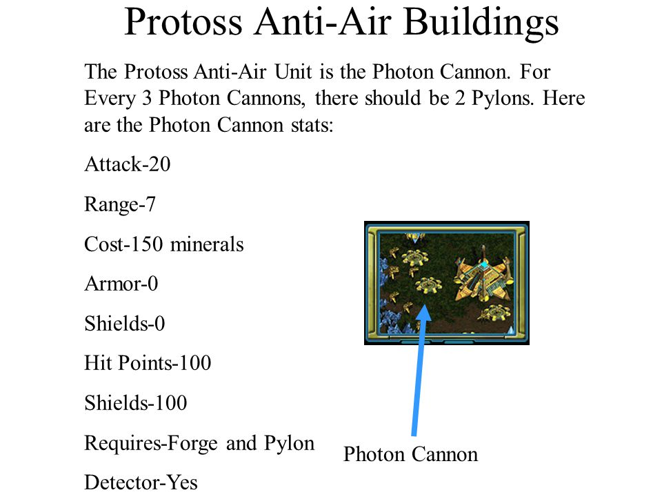 Protoss Anti-Air Buildings The Protoss Anti-Air Unit is the Photon Cannon. For Every 3 Photon Cannons, there should be 2 Pylons. Here are the Photon C