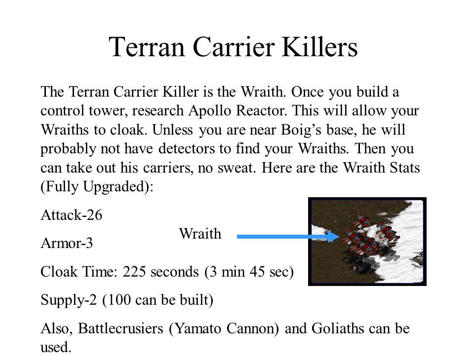Terran Carrier Killers The Terran Carrier Killer is the Wraith.