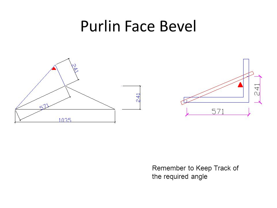 Purlin Face Bevel Remember to Keep Track of the required angle