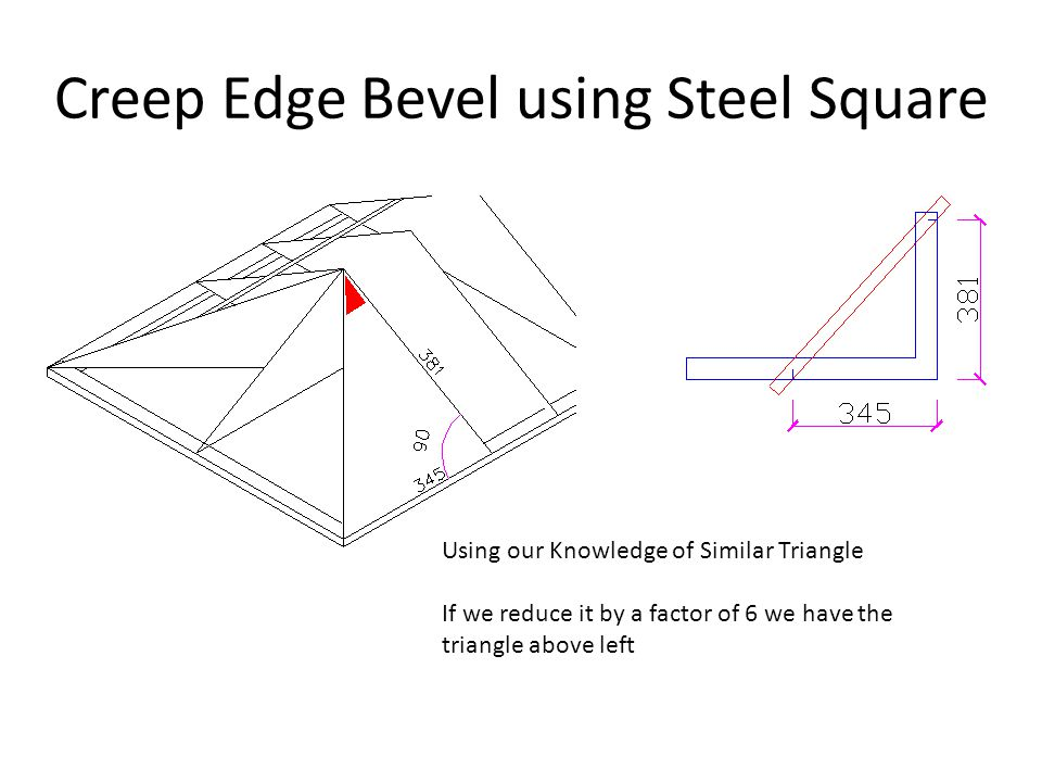 Creep Edge Bevel using Steel Square Using our Knowledge of Similar Triangle If we reduce it by a factor of 6 we have the triangle above left