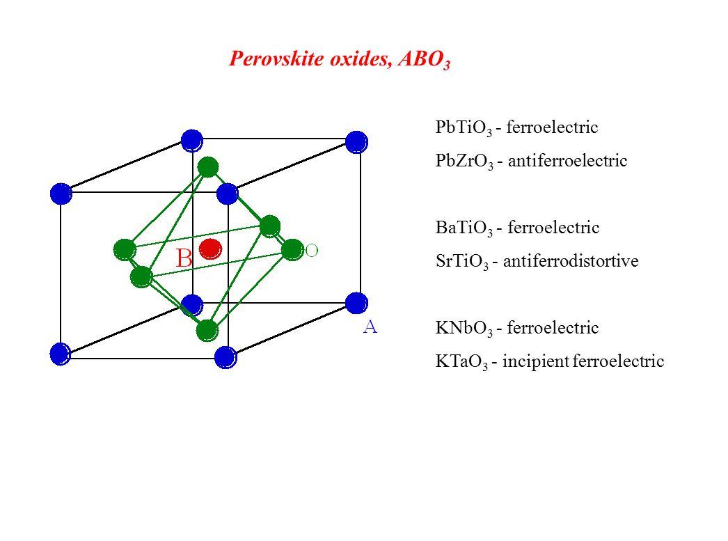 Perovskite oxides, ABO 3 PbTiO 3 - ferroelectric PbZrO 3 - antiferroelectric BaTiO 3 - ferroelectric SrTiO 3 - antiferrodistortive KNbO 3 - ferroelectric KTaO 3 - incipient ferroelectric