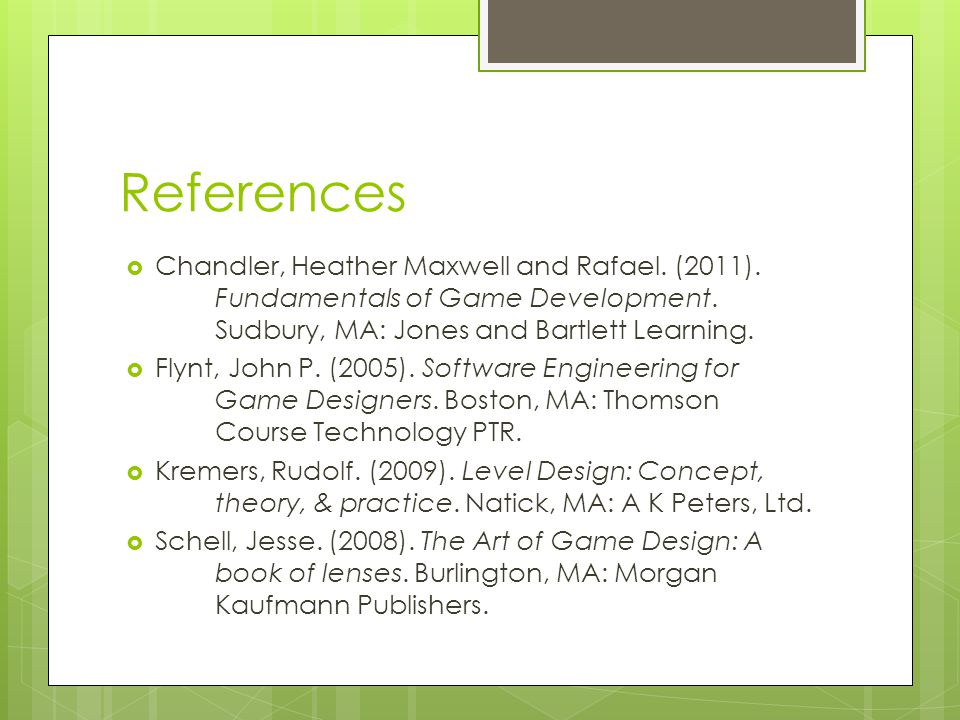 References  Chandler, Heather Maxwell and Rafael.