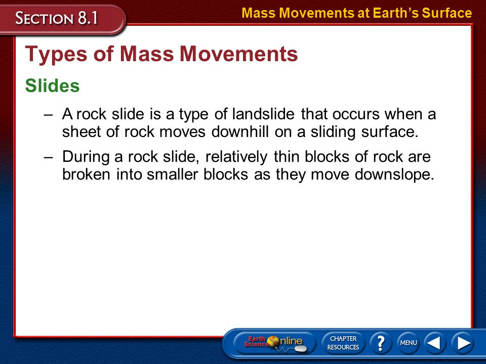Types of Mass Movements Slides Mass Movements at Earth's Surface –A landslide is a rapid, downslope movement of Earth materials that occurs when a rel