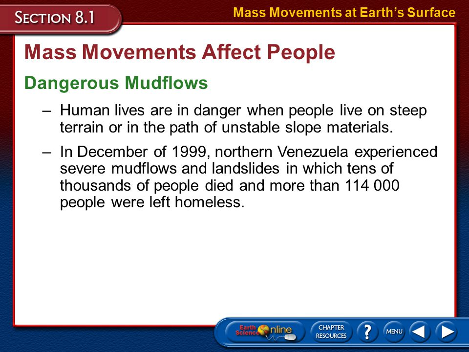 Mass Movements Affect People Human activities often contribute to the factors that cause mass movements. Mass Movements at Earth's Surface Activities